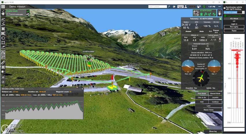 UgCS Flight Software with Ground Penetrating RadarGPR